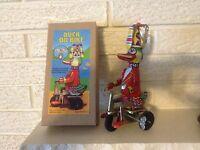 Duck on Bike Tin Litho Wind up Clockwork NIB