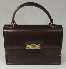 Brown Leather Kelly Bag Florence Italy Twist Double  Front Closure Never Used