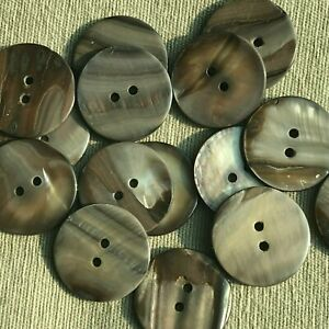 """Lot 20 40L 25mm 1"""" Grey 2H Real Shell Button for Coat Jacket Crafts Sewing"""