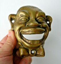 New listing Vintage Solid Brass Wall Mount Smiling Man Beer Bottle Opener