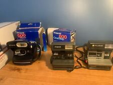 Lot of 3 Vintage Polaroid Cameras 600 One Step Express Sun 600 LMS With 2 Boxes
