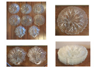 VINTAGE Indiana Glass 8-Piece Luncheon Set PEBBLE LEAF 6 Plates+2 Divided Dishes