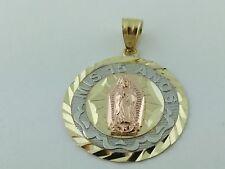 14K Solid Gold Virgen de Guadalupe Pendant Charm  Mis 15 Anos  14K Pendant Charm