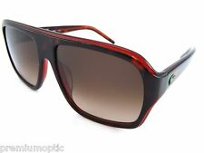 LACOSTE 'LIVE' square Sunglasses Red Havana / Red Brown Gradient L643S 214