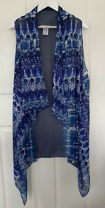 Avella Size Small Women Top - Blue Sheer Sleeveless Long Relax Flowing Vest