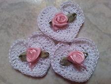 Lotto 10 cuori uncinetto bianchi con rosellina - cuori crochet  - bomboniere