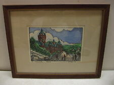 ORIGINAL 1974 QUEBEC INK & WATERCOLOR SIGNED JACQUES ART PAINTING
