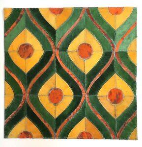 SURYA Rug Leather Hair on Hide Hand Craft Carpet Tile Orange, Gold, Green 18x18