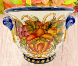 Hand Painted Fruit Deruta Design Vase w/ Blue Handles Majolica Pottery Italy