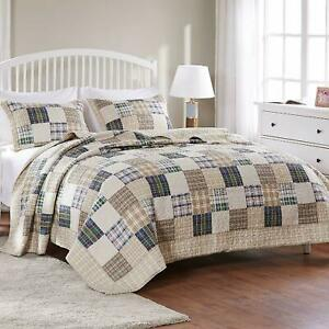 NEW! BEAUTIFUL COZY TAN BEIGE BLUE RED GREEN DENIM COUNTRY CABIN PLAID QUILT SET