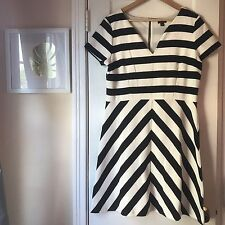 Ann Taylor Black White Striped Dress Pockets Angled Sz 12 Career A-line