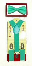 New Teal Toddler Kids Bow Tie and  Suspenders Set - Baby Boy/Girl Accessories