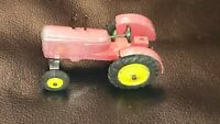 DINKY MECCANO MASSEY HARRIS RED TRACTOR PLAYWORN WITH 4 ASSORTED TRAILERS