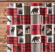 "LODGE LIFE 72""x72"" SHOWER CURTAIN & HOOKS : BLACK BEAR MOOSE RED BUFFALO CHECK"