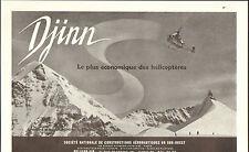 HELICOPTERES DJINN STE NATIONALE DE CONSTRUCTIONS AERONAUTIQUES PUBLICITE 1955