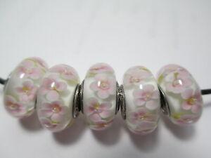 Lots of 5 Pandora Silver 925 Ale Light Pink Daisy Flower White Murano Glass Bead