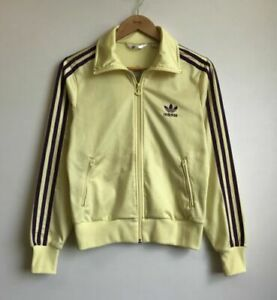 Vintage Adidas Women Yellow 3 Purple Stripes Jacket Track Top Trefoil Logo Sz 40