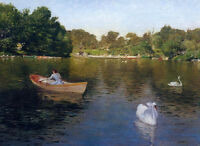 Art Oil painting William Merritt Chase - On the Lake, Central Park with swan