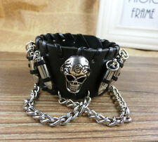Men's Women's Skull Stainles Steel Chain Bullet Leather Bracelet Wristband Black
