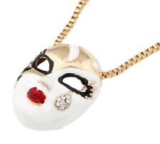 Gold White Mask Masque Kitsch Crystal Costume Jewellery Necklace