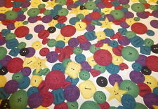 Retro Funky RED, GREEN, PURPLE BUTTON themed Fabric (55cm x 50cm)