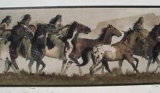 """Indianer auf Pferden alt West Tapete Grenze 6 7/8 """"schwarz"""