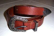 Polo Ralph Lauren Western Style Leather Belt W/ Embossed Buckle Size 36