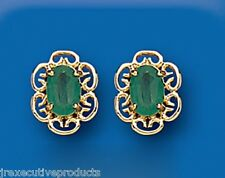 Emerald Earrings Celtic Earrings Natural emerald Studs Yellow Gold Earrings
