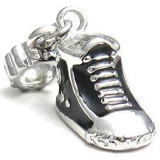 5 Pcs Black Sneaker Boot Shoe Silver European Charms Beads For Bracelet L#543