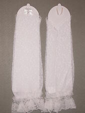 NEW! SEXY Long WHITE Lace FINGERLESS Bridal GLOVES ~ ONE SIZE ~ 13.5 Inches