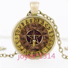 Vintage Pentagram Wiccan Cabochon Bronze Glass Chain Pendant Necklace #1206