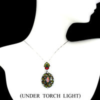 Unheated Oval Fire Opal Full Flash 7x5mm Cz 925 Sterling Silver Necklace 16 Inch