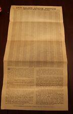 Rare Pre-prohibition Anti-saloon Pétition Pour Chicago Daté 1914 ~Fantastic ~ Fr