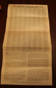 RARE Pre-Prohibition Anti-Saloon Petition For Chicago Dated 1914~Fantastic~Fr/Sh