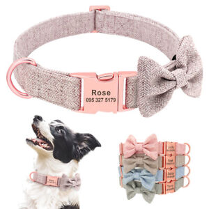 Personalised Dog Collar Soft Bowtie Pet Puppy Walking Collar Free Engraved ID