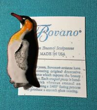Bovano of Cheshire Enamel on Copper Metal Pin Brooch PENGUIN Animal FREE SHIP