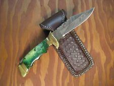 "CUSTOM HANDMADE 8.2"" DAMASCUS FOLDING KNIFE BACK LOCK Camel Bone & Brass Handle"