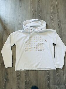 DKNY SPORT WHITE  OVERSIZED CROPPED HOODIE SWEATER T.SHIRT SIZE M GOLD LOGO NEW
