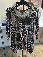 Grace Elements Size Small Leopard Animal Print Top Blouse Tunic