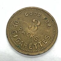 RARE Antique Good For 3 Packs Of Ginger Cigarettes Brass Coin Token Medal Old
