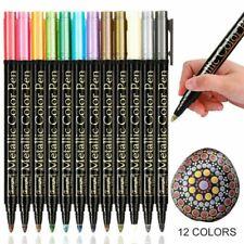 Metallic Acrylstifte Marker 12 Farben Set Markierungsstifte Filzstift Steine DHL