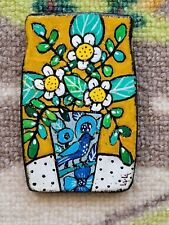 Folk Art ORIGINAL Magnet Flower Pot Vase Whimsical Still Life Bird Daisy Leaf