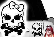 1x Autoaufkleber Totenkopf Skull Prinzessin Auto Aufkleber Princess Schleife Hdx