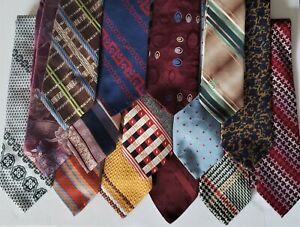 """Lot Mens Funky Vintage 4"""" Wide Neckties Polyester 1960s 1970s"""