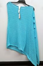 CHICOS Size 1 2 3 Blue Loose Knit Cut Out Side Pullover Poncho Top