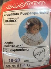 NEW Glorex 19-20cm  7-7.5 Inches Brunette Flower Curly Doll Wig Switzerland