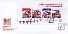 Gibraltar 2017 FDC 1967 Referendum 50th Anniv 4v M/S Cover Flags Stamps