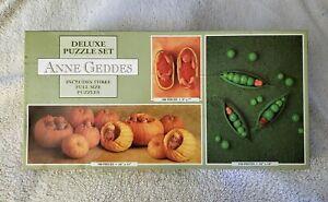 1998 Ceaco Anne Geddes 3 Puzzles 1 Box Babies Pumpkins & Peapods NIB