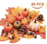Mini Artificial Pumpkins Autumn Gourds, Maple Leaves, Pine Cones, Acorns for Hal