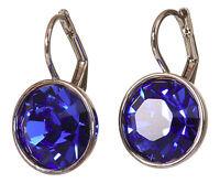 Swarovski Element Crystal Sapphire Bella Earrings Rhodium Plated Authentic 7168w